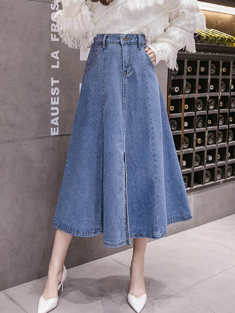 Ericdress_Denim_Plain_Pockets_ALine_HighWaist_Skirt