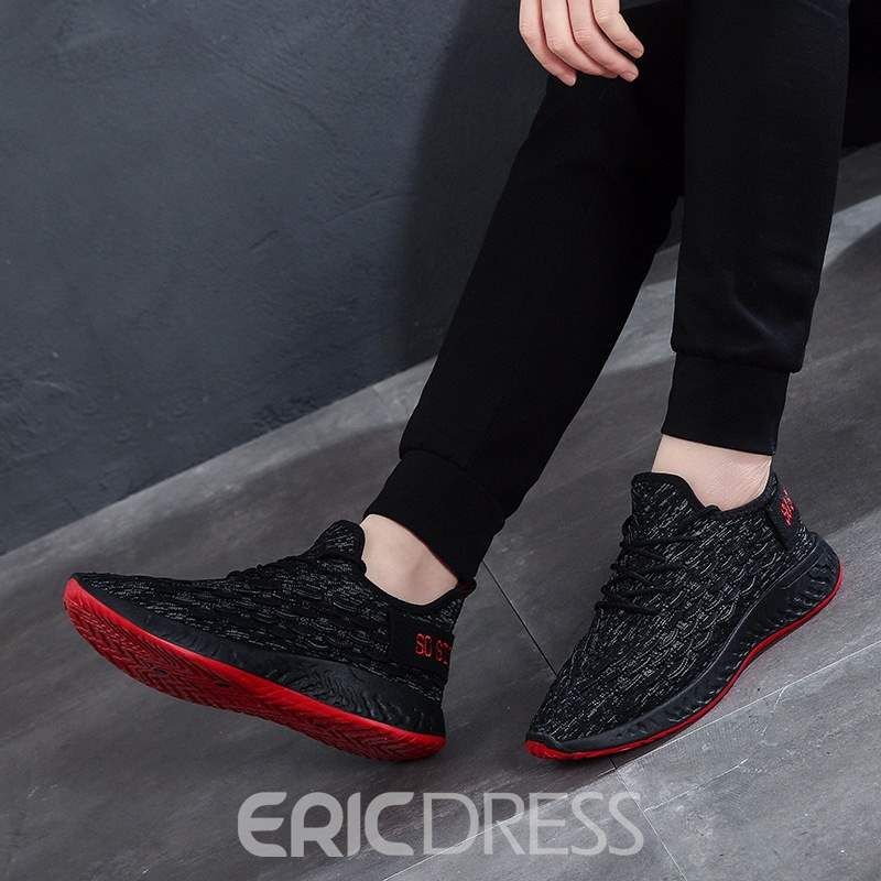 Ericdress Mesh Lace-Up Round Toe Men's Casual Sneakers