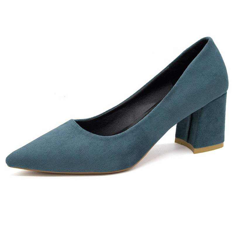 Ericdress Chunky Heel Slip-On Pointed Toe Women's Pumps