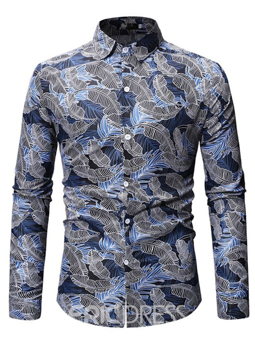 Ericdress Lapel Floral Printed Single-Breasted Mens Shirt