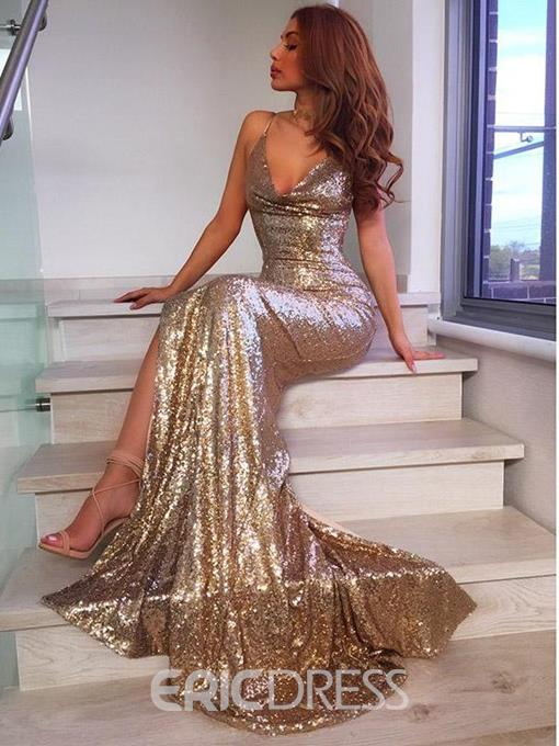 Ericdress Sleeveless Mermaid Sequin Evening Dress