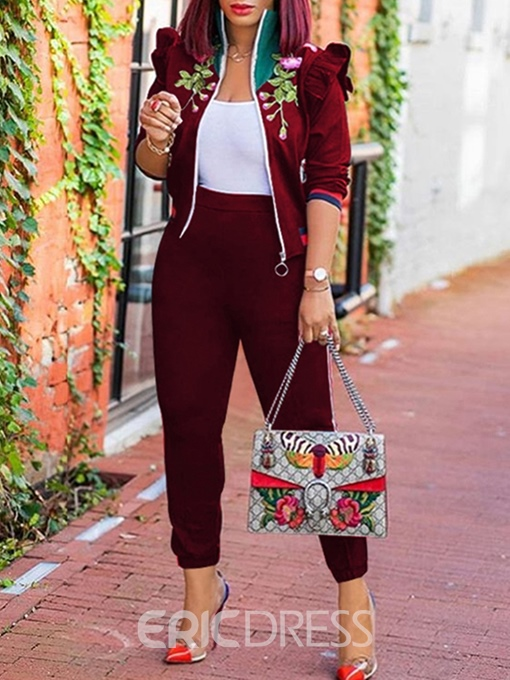 Ericdress Stripe Embroidery Casual Zipper Jacket and Pants Two Piece Sets