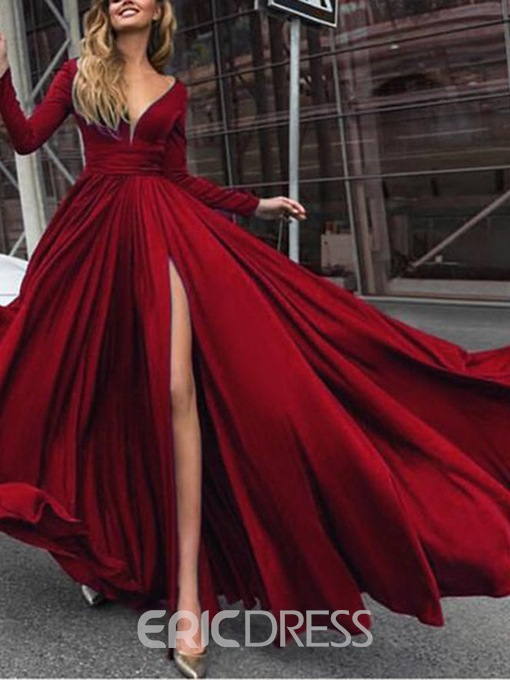 Ericdress Split-Front Long Sleeves V-Neck Prom Dress