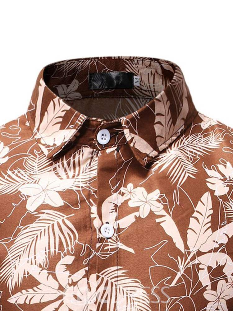 Ericdress Floral Printed Button Up Mens Casual Spring Shirt
