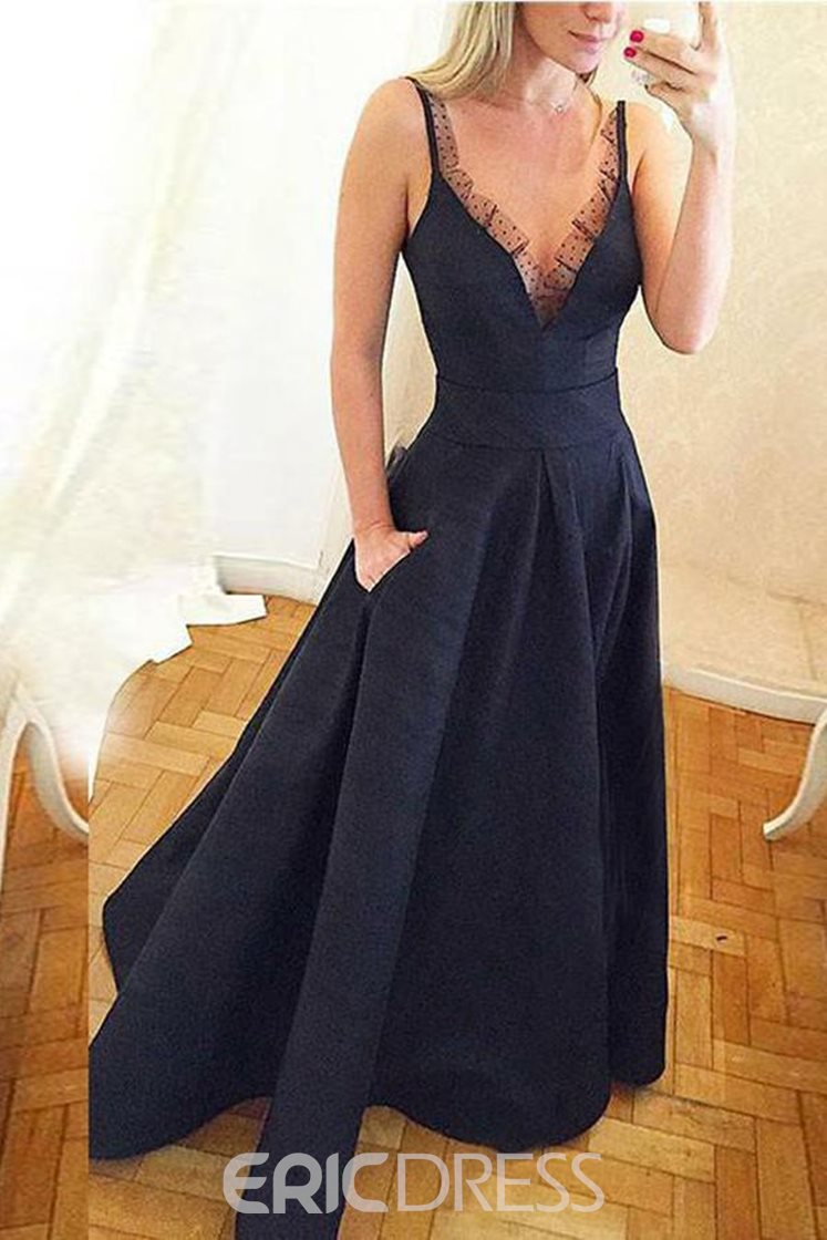 Ericdress Straps A-Line Pockets Prom Dress