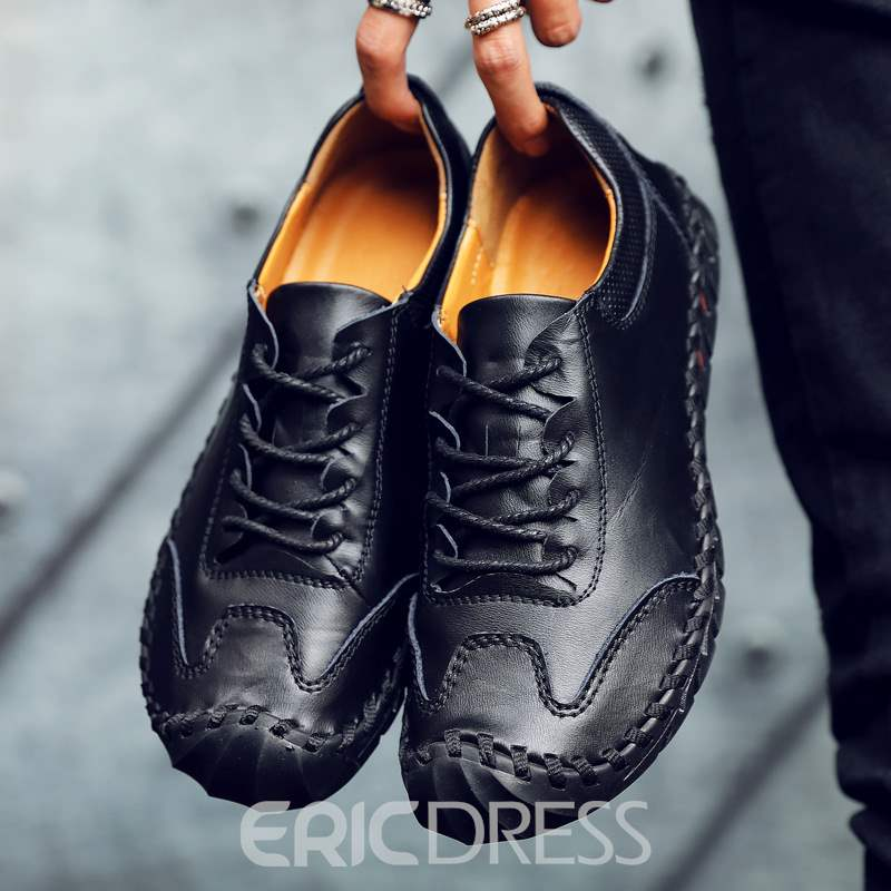 Ericdress PU Lace-Up Round Toe Men's Casual Shoes