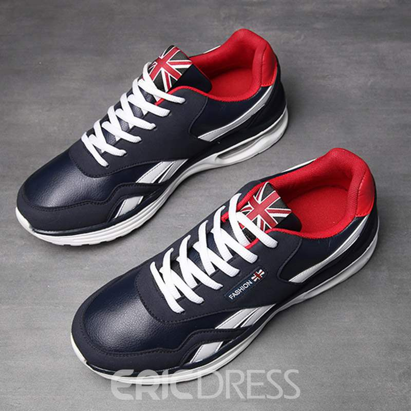 Ericdress Color Block Lace-Up Round Toe Men's Casual Sneakers