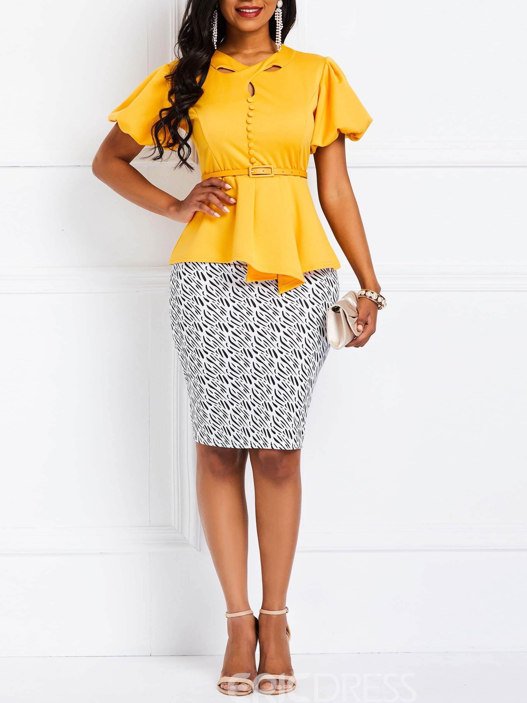 Ericdress Elegant Princess Sleeve Color Block Hollow T-Shirt and Bodycon Skirt Two Piece Sets