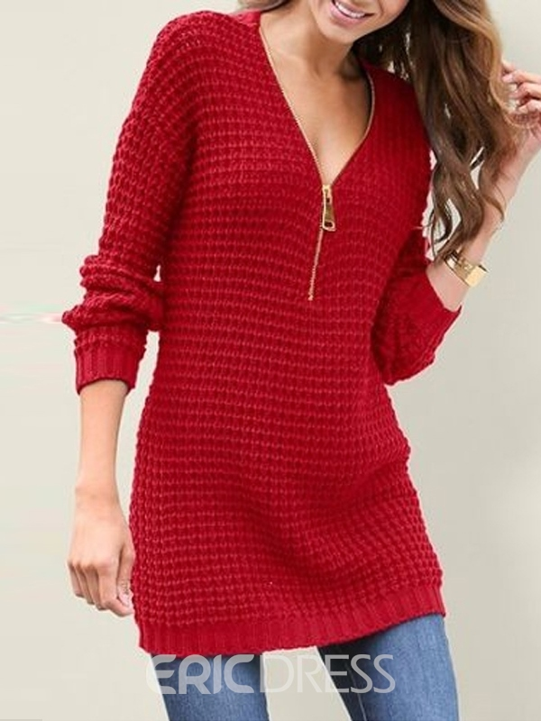 Ericdress Zipper Straight Spring Sweater