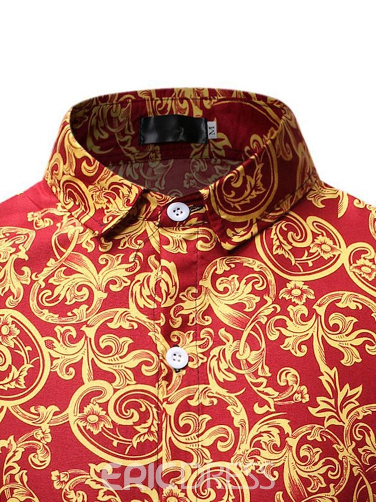 Ericdress Print Button Up Mens Single-Breasted Shirt