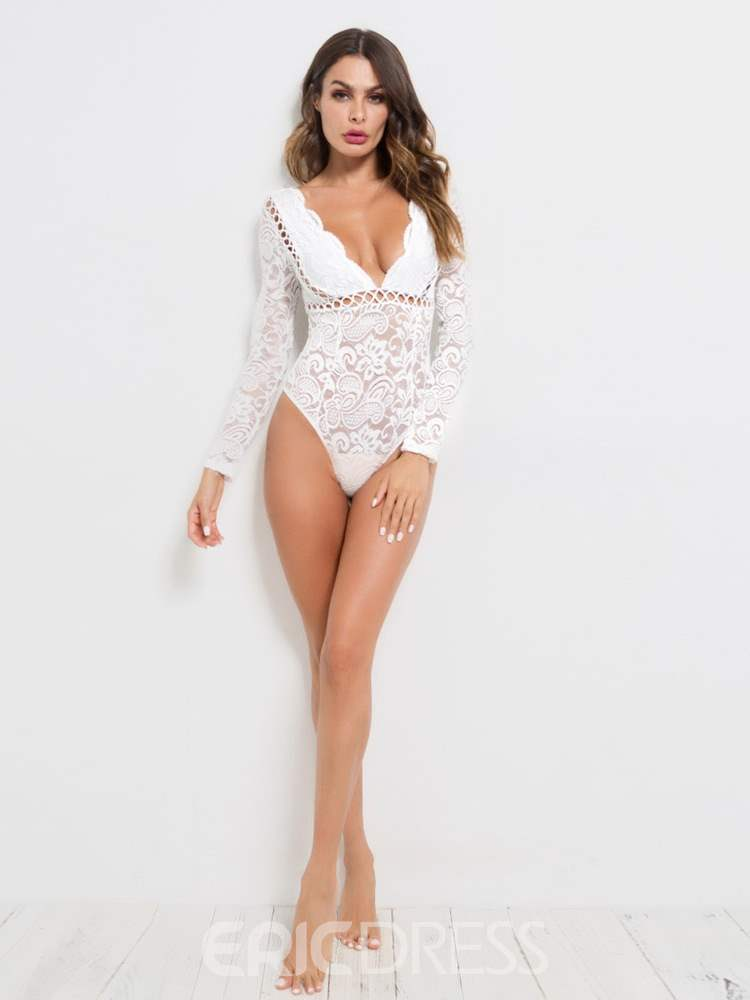 Ericdress Backless Plain Lace Long Sleeve Teddies