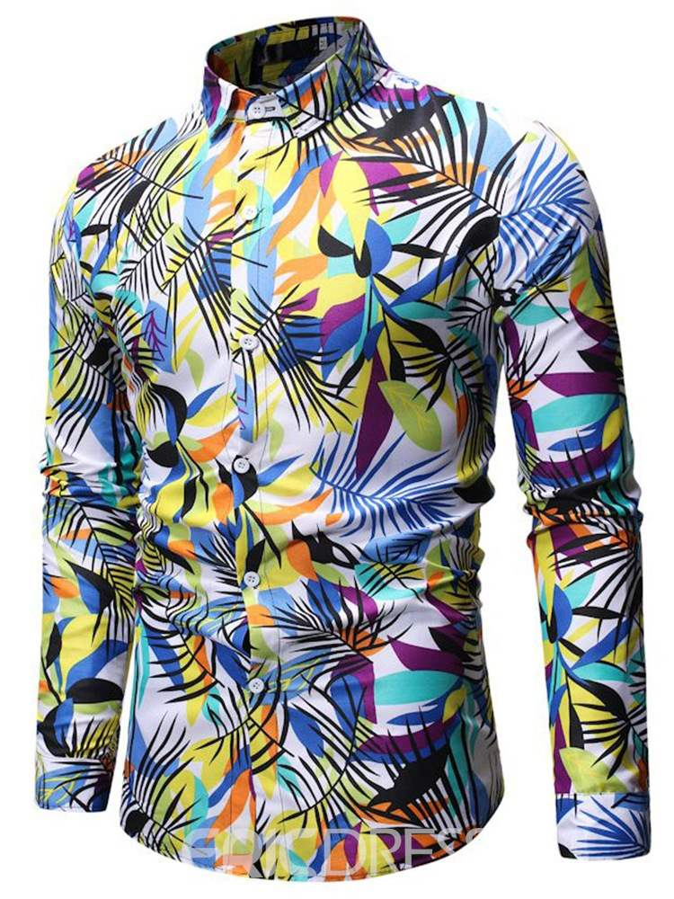Ericdress Plant Printed Lapel Mens Casual Single-Breasted Shirt