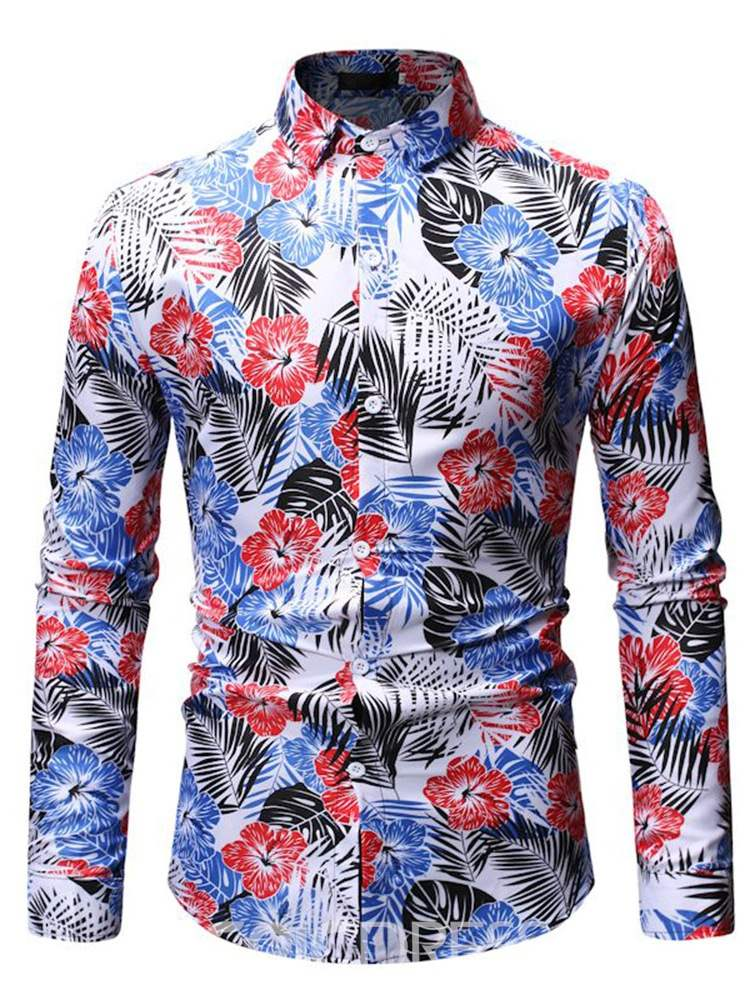Ericdress Lapel Floral Plant Printed Mens Single-Breasted Shirt