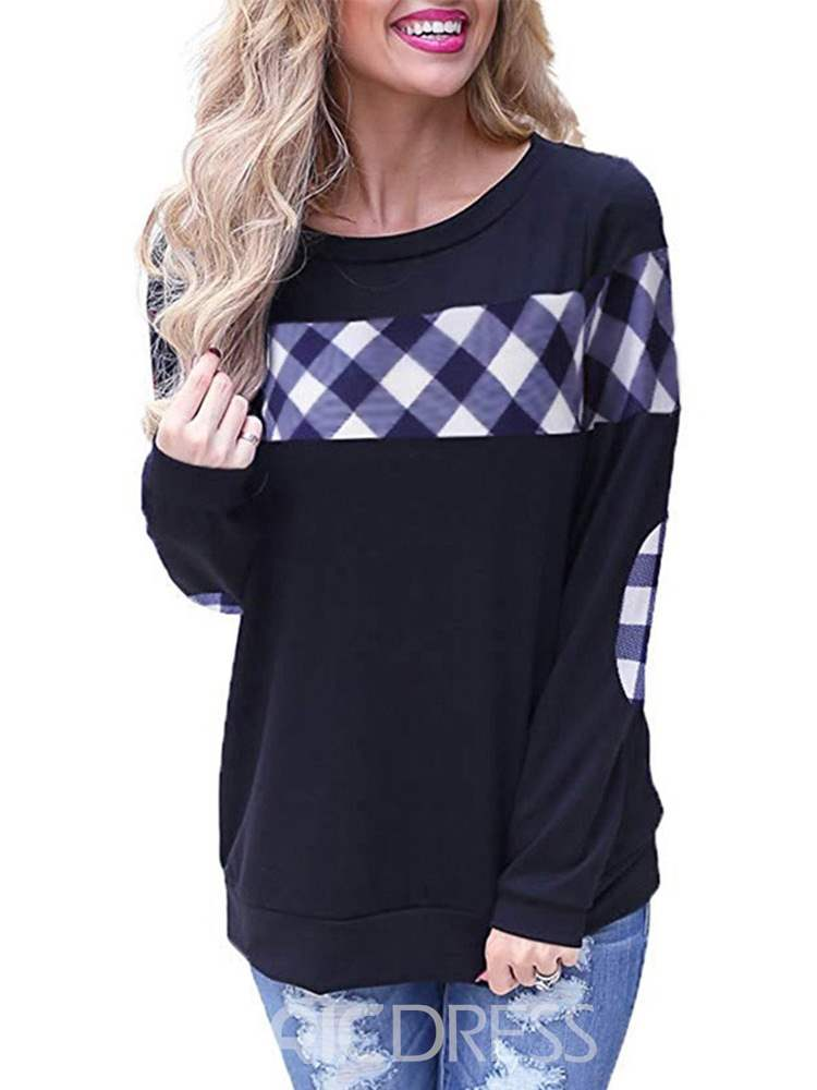 Ericdress Plaid Long Sleeve Standard Slim Spring T-Shirt