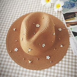 Ericdress Straw Pearl Flower Hat