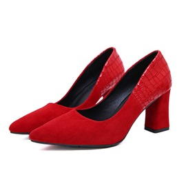 Ericdress Patchwork Chunky Heel Pointed Toe Women's Pumps