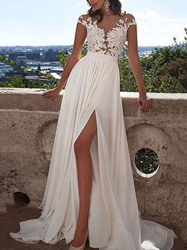 Ericdress Cap Sleeves Scoop Neck Applique Beach Wedding Dress