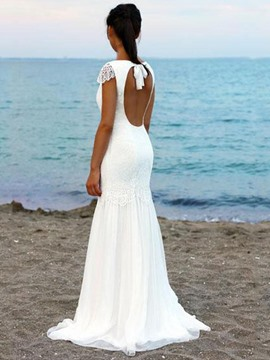 Ericdress Bateau Lace Mermaid Beach Wedding Dress