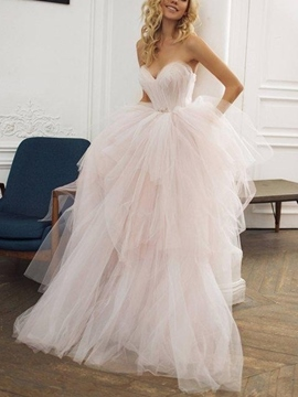 Ericdress Sweetheart Pick-Ups Pink Wedding Dress