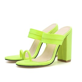 Ericdress Chunky Heel Slip-On Toe Ring Women's Slippers