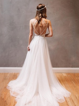 Ericdress Appliques Beading Spaghetti Straps Beach Wedding Dress