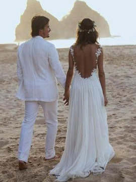 Ericdress A-Line Appliques Beach Wedding Dress