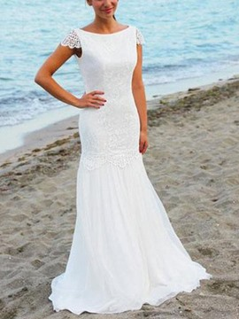 Ericdress Lace Mermaid Backless Beach Wedding Dress