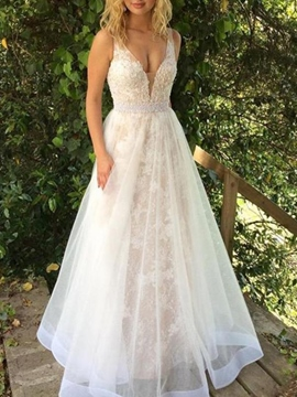 Ericdress A-Line V-Neck Appliques Beach Wedding Dress 2019