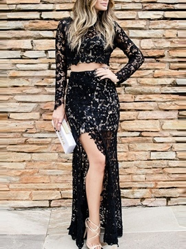 Ericdress Split-Front Sheath Long Sleeve Lace Evening Dress