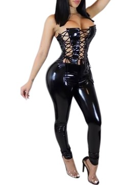 Ericdress Plain Lace-Up Patent Leather PU Sexy Costumes