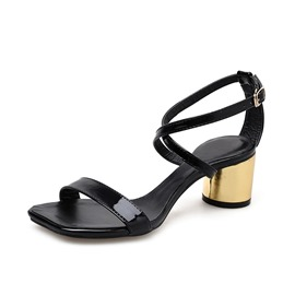 Ericdress PU Strappy Chunky Heel Women's Sandals