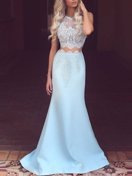 Ericdress Lace Floor-Length Jewel Neck Mermaid Evening Dress