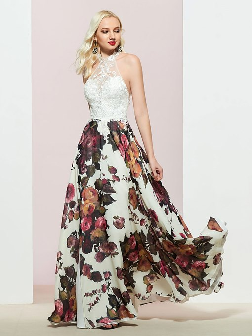 Ericdress Sleeveless A-Line Print Floor-Length Prom Dress