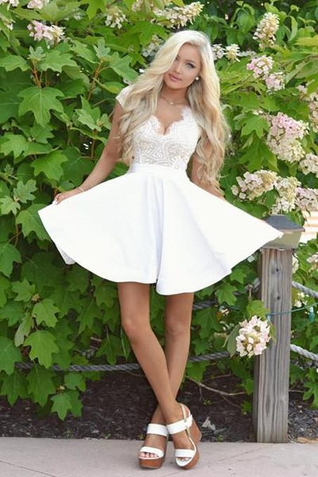 Cap Sleeves Mini A-Line V-Neck Homecoming Dress