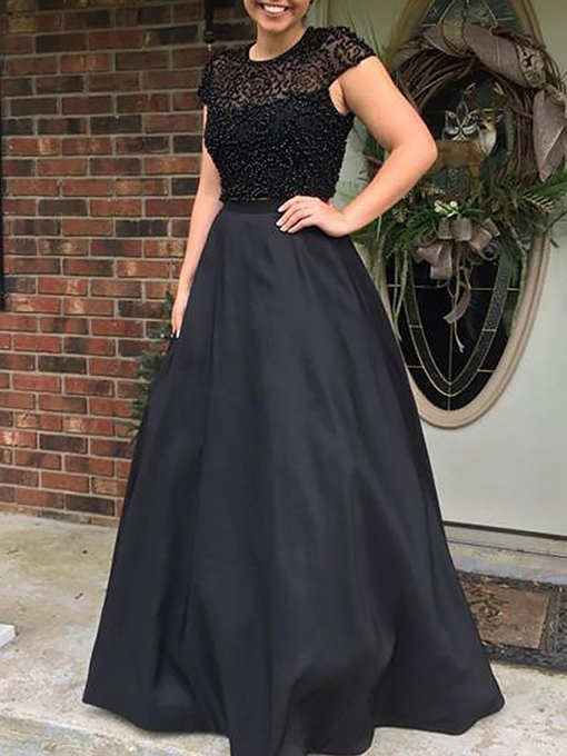 Ericdress A-Line Beading Cap Sleeves Black Prom Dress