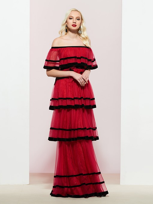 Ericdress Off the Shoulder Tiered Lace Prom Dress