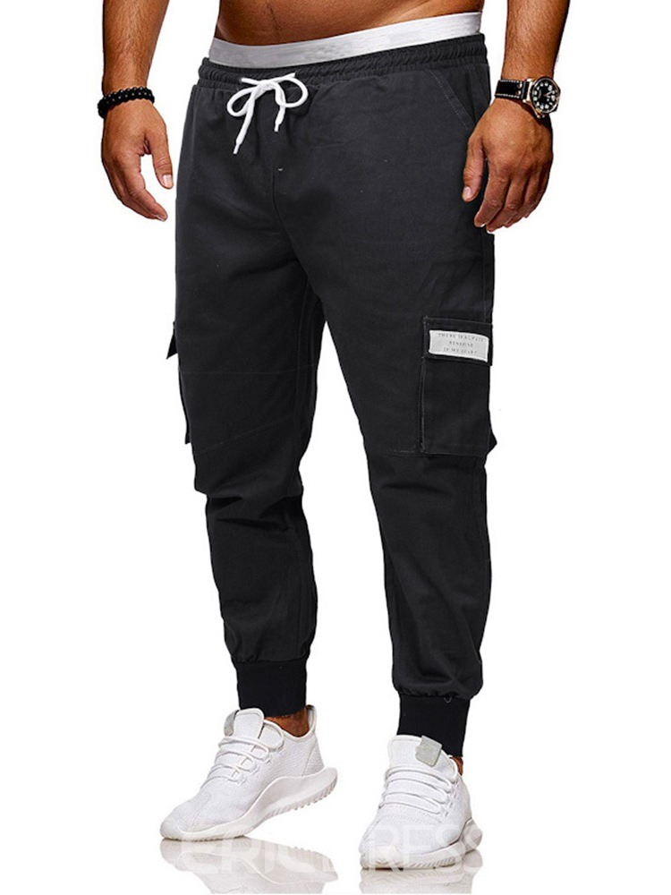 Ericdress Color Block Printed Side Pocket Mens Lace-Up Casual Pants