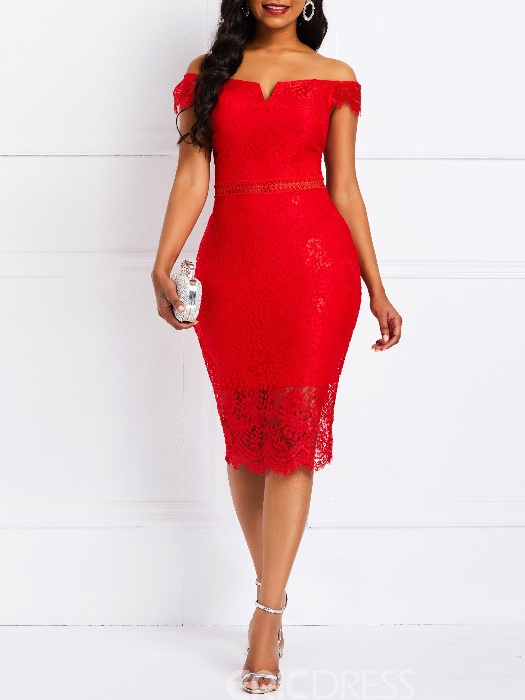 Ericdress Short Sleeve Off the Shoulder Bodycon Dress