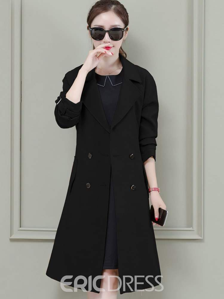 Ericdress Mid-Length Notched Lapel Double-Breasted Raglan Sleeve Office Lady Trench Coat