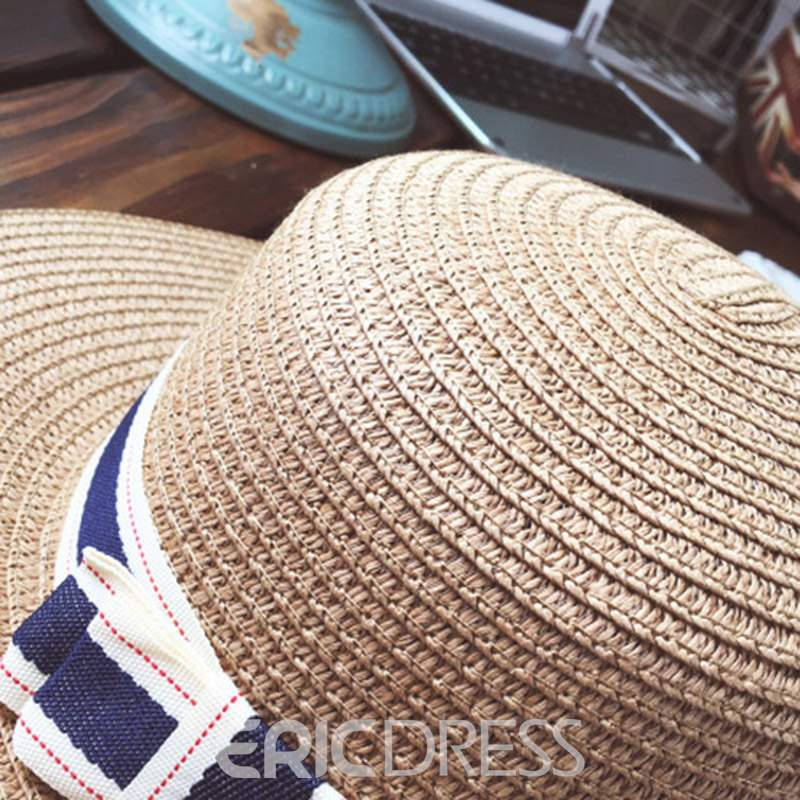 Ericdress Straw Plaited Summer Letter Hat