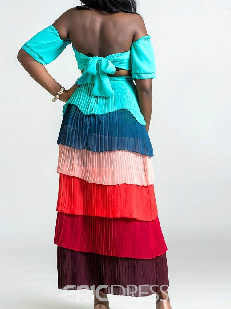 Ericdress Color Block Pleated Vest and Skirt Women's Two Piece Set