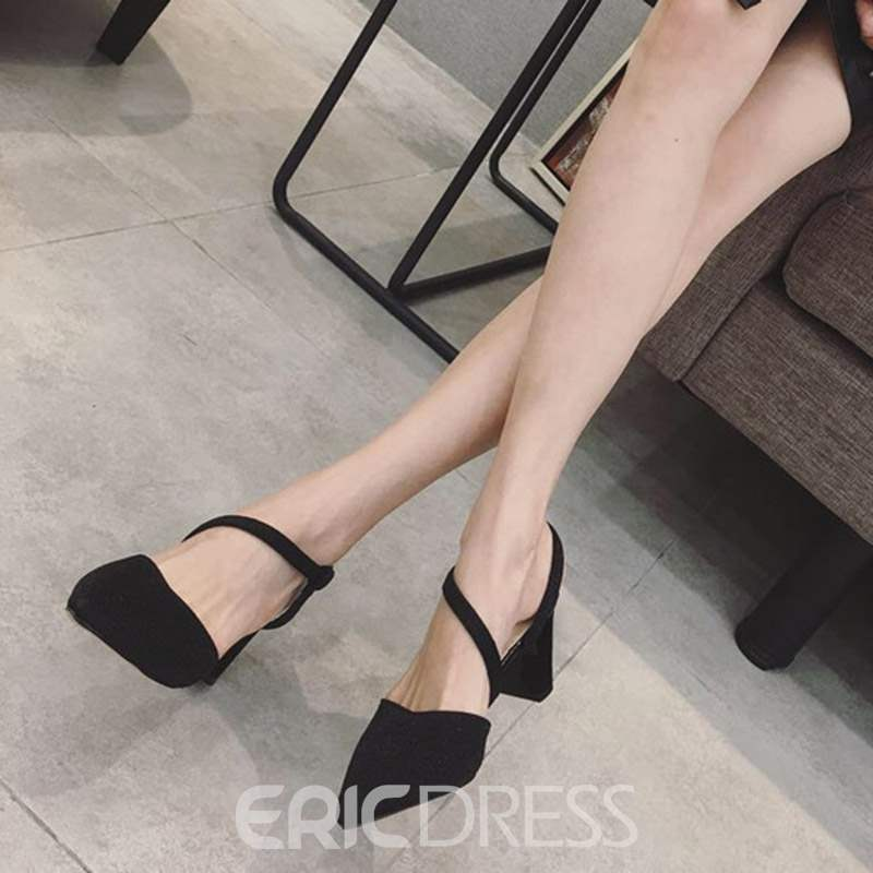 Ericdress Chunky Heel Pointed Toe Strappy Women's Sandals