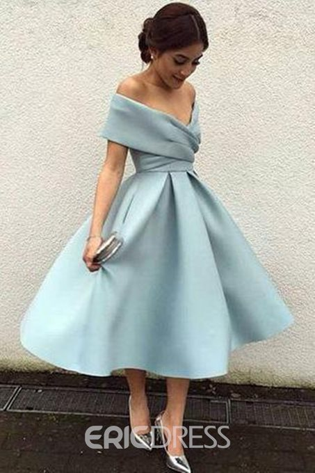 Ericdress Tea-Length Off-The-Shoulder Cap Sleeves Prom Dress