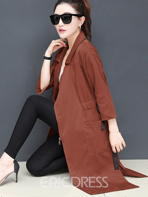 Ericdress Mid-Length Zipper Spring Three-Quarter Sleeve Trench Coat