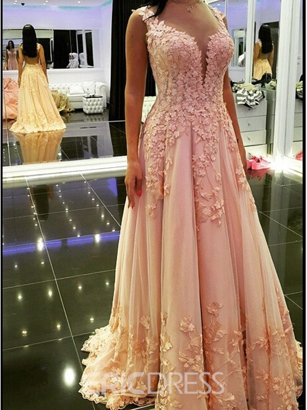 Ericdress Floor-Length Straps Appliques A-Line Prom Dress