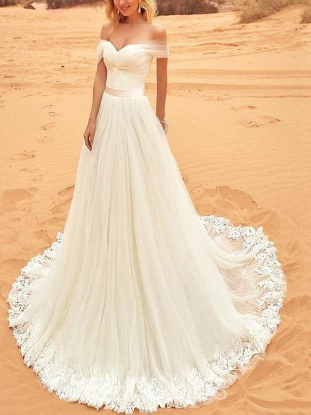 Ericdress Off The Shoulder Sleeveless Appliques Outdoor Wedding Dress