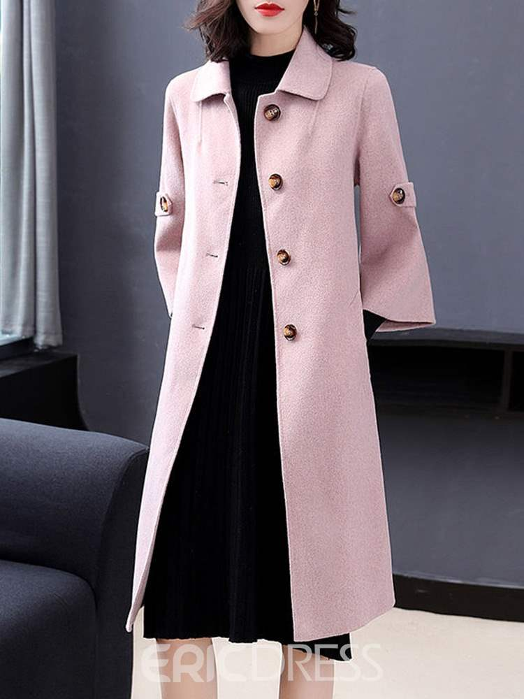 Ericdress Loose Single-Breasted Fall Long Overcoat