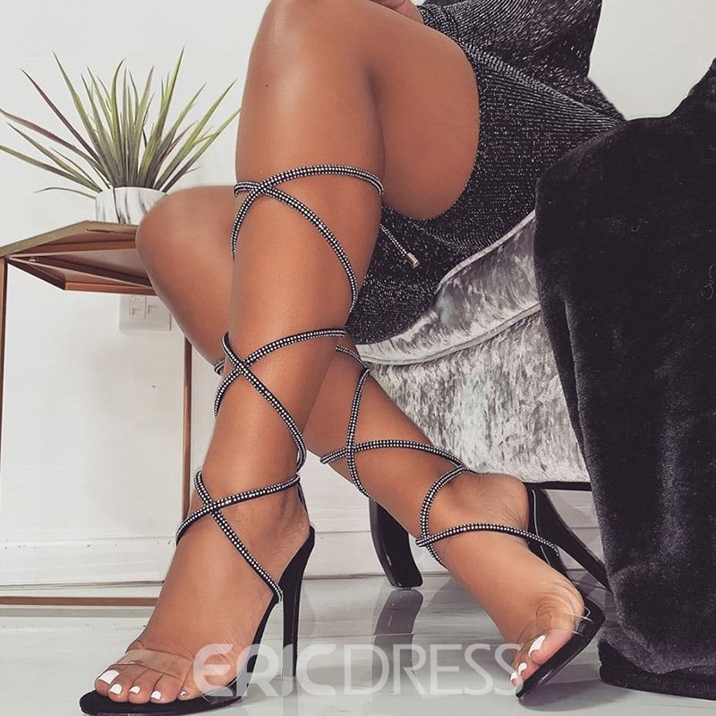 Ericdress Lace-Up Stiletto Heel Ankle Strap Women's Sandals