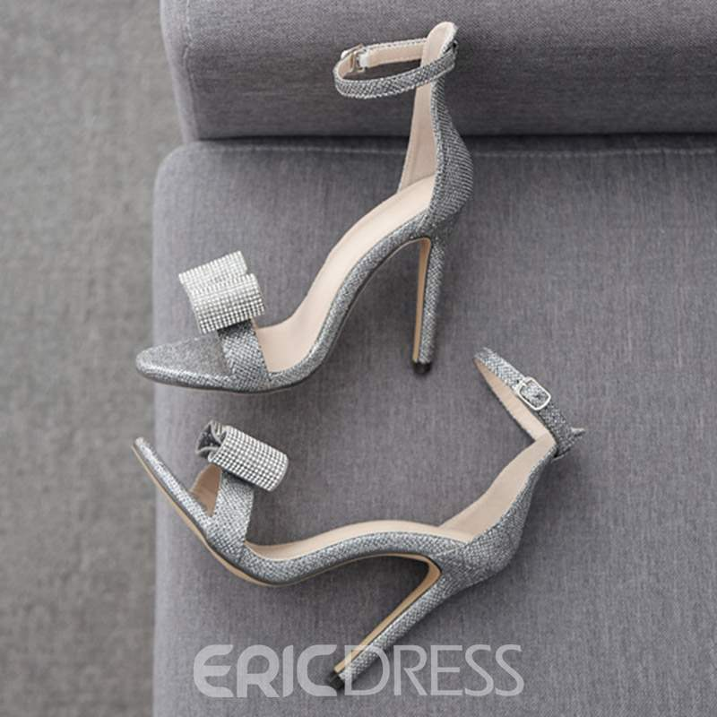 Ericdress Bowknot Rhinestone Stiletto Heel Women's Sandals