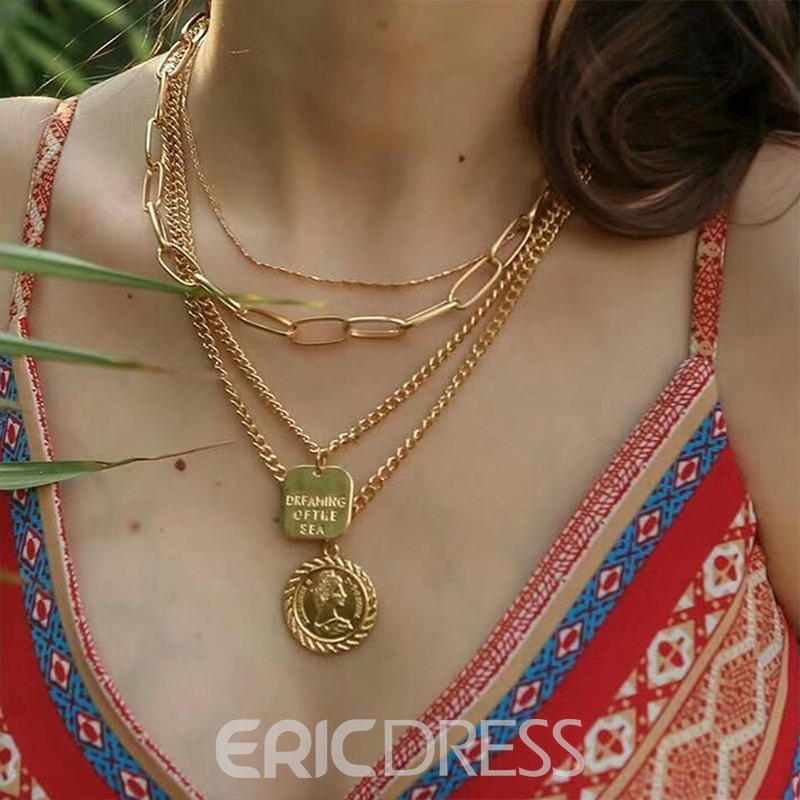 Ericdress Multilayer Pendant Retro Necklace